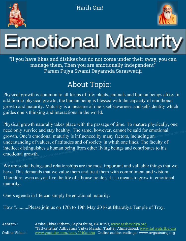 emotional maturity Yikes, this came out all together let me try to repost for easier reading characteristics of emotional maturity 1 the ability to give and receive love: emotional maturity fosters a.