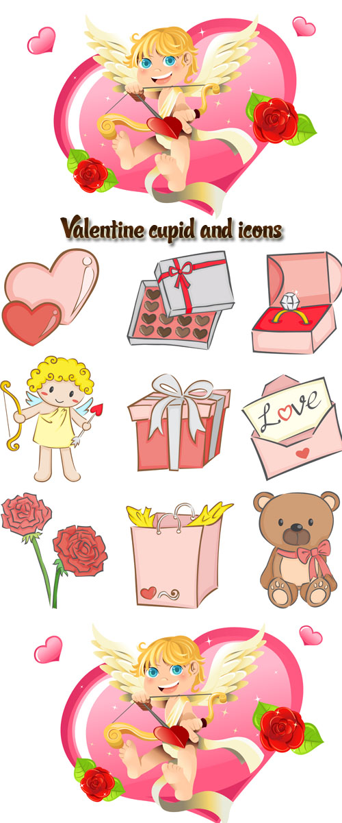 Stock: Valentine cupid and icons
