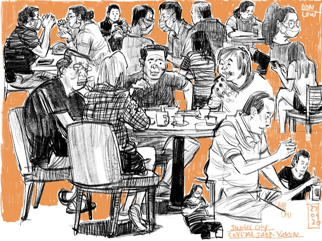 Sketching people in the eatery