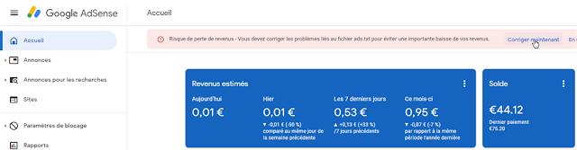 Corriger l'erreur AdSense - Risque de perte de revenus liés au fichier ads.txt