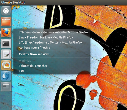 Unity Window QuickList su Ubuntu 12.04