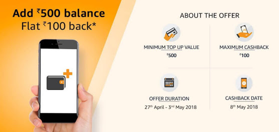 Amazon – Get Rs 100 Cashback on Adding Rs 500 or more to Amazon Pay Balance