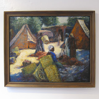 Signed Market Scene Oil Painting