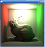 "I eventually started looking into more photorealistic raytracing (path tracing in this case). This was my first ""correct"" pathtraced render; it's a low poly stanford bunny in a variant of the classic cornell box. Notice the color of the walls bleeding onto the bunny."