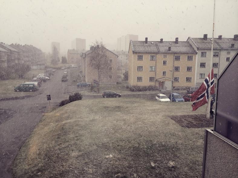Vaktmesteren tar ned flagget i snøstormen