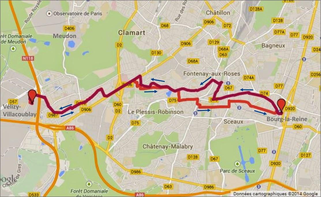 Tracé Déplacement à vélo entre Bourg la Reine et Vélizy par veloiledefrance.com
