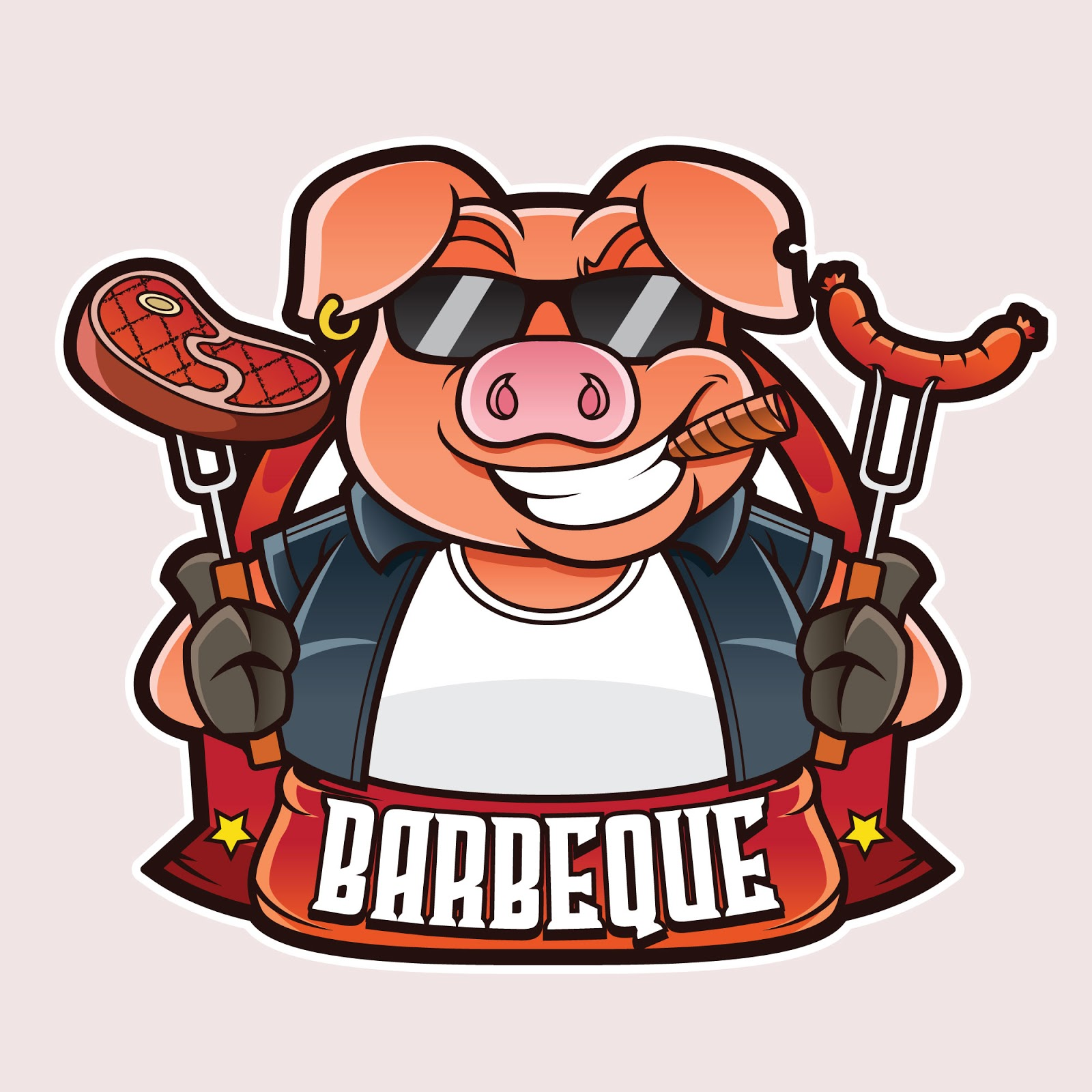 Barbeque Mascot Logo Free Download Vector CDR, AI, EPS and PNG Formats