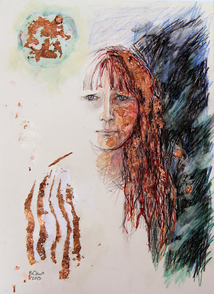 "Photo: Mirrorless Self-Portrait Series, sketch 1Final, 28.5cm x 42cm, 11 1/4"" x 16 1/2"", graphite, watercolour pencils, Cretacolor aquastics, copper leaf in a Moleskine A3 Sketchbook."