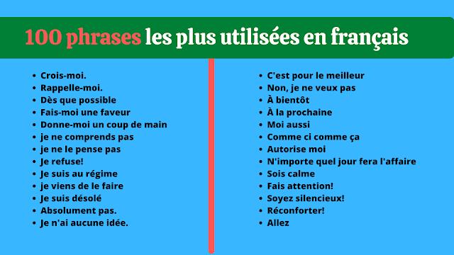 100 phrases les plus utilisées en français