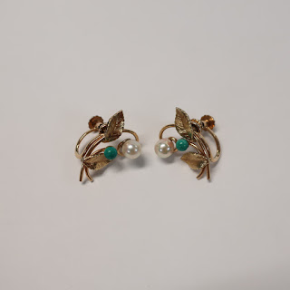 14K Gold, Pearl and Blue Stone Clip Earrings