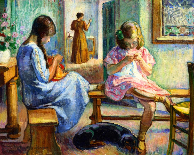 Henri Lebasque - Marthe and Nono Sewing
