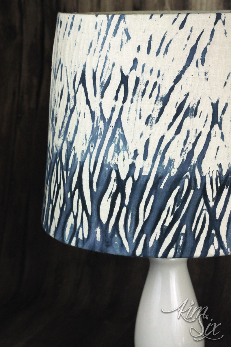 Shibori wrapping dye technique on lampshade