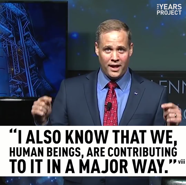 Screenshot from a video showing how NASA administrator Jim Bridenstine has changed his mind on climate science and now embraces global warming, after less than a month leading NASA. Photo: The Years Project