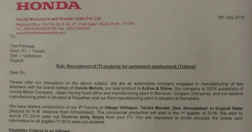 VACANCY FOR ITI AT HONDA PLANT