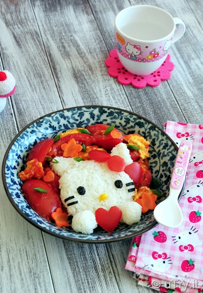 How to Make Hello Kitty Rice with Tomato and Egg Stir Fry 吉蒂貓飯配蕃茄炒蛋  with step-by-step video tutorial http://uTry.it