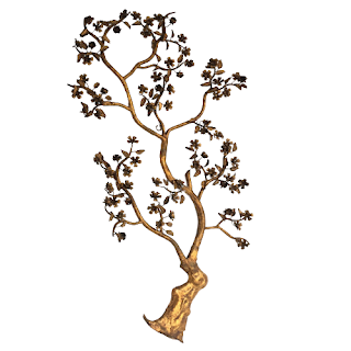 Wrought Metal Cherry Blossom Wall Sculpture
