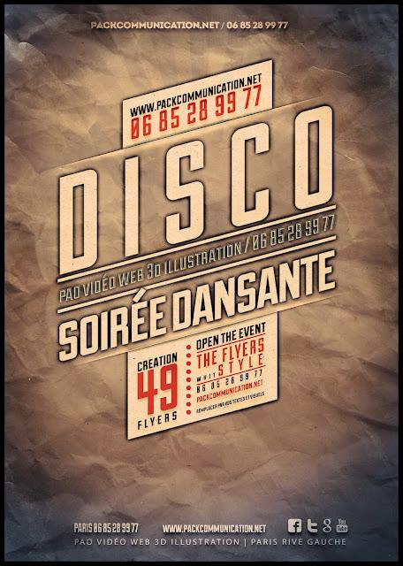 création flyers soirées thème Disco Soirée Dansante