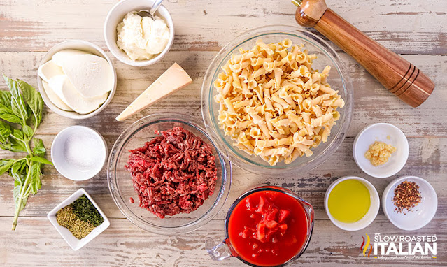 Skillet Lasagna ingredients