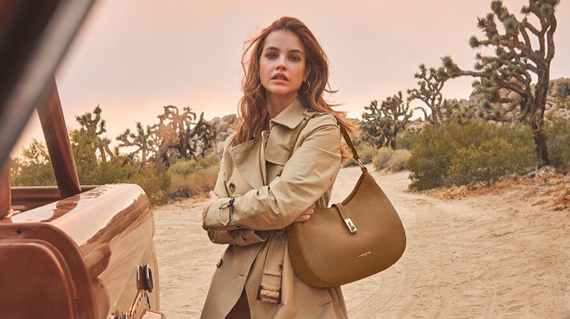 Posing with the Milano bag, Barbara Palvin fronts Lancaster spring-summer 2021 campaign.