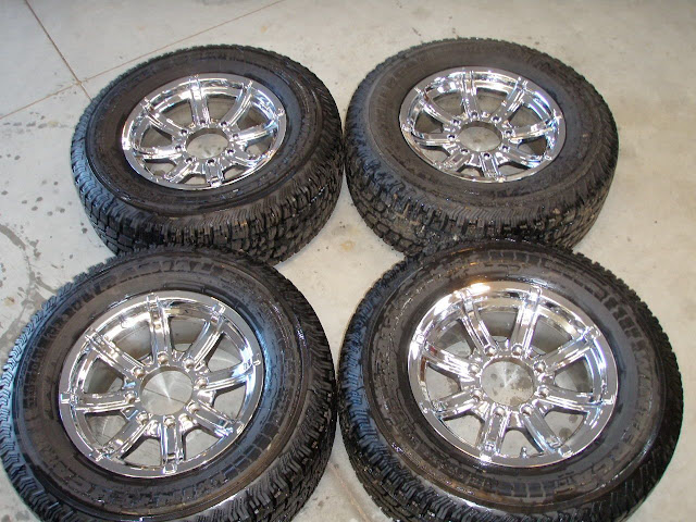 Ford Super Duty F250 F350 Studded Tires and Chrome Wheels