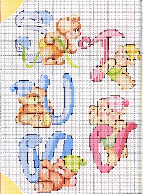 lo spazio di lilla alfabeto a punto croce con gli orsetti
