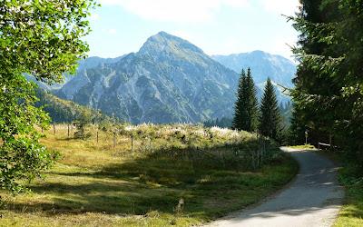 Am Abzweig zum Naturfreundehaus Michael Schuster Hütte Blick Rotspitze Imberg Sonthofen Allgäu