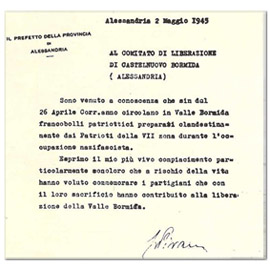 1945 - francobolli resistenza - lettera prefetto