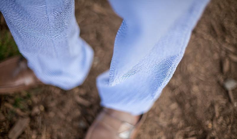 Blue Seersucker Pants - Close Up