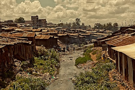 Slums along a stream