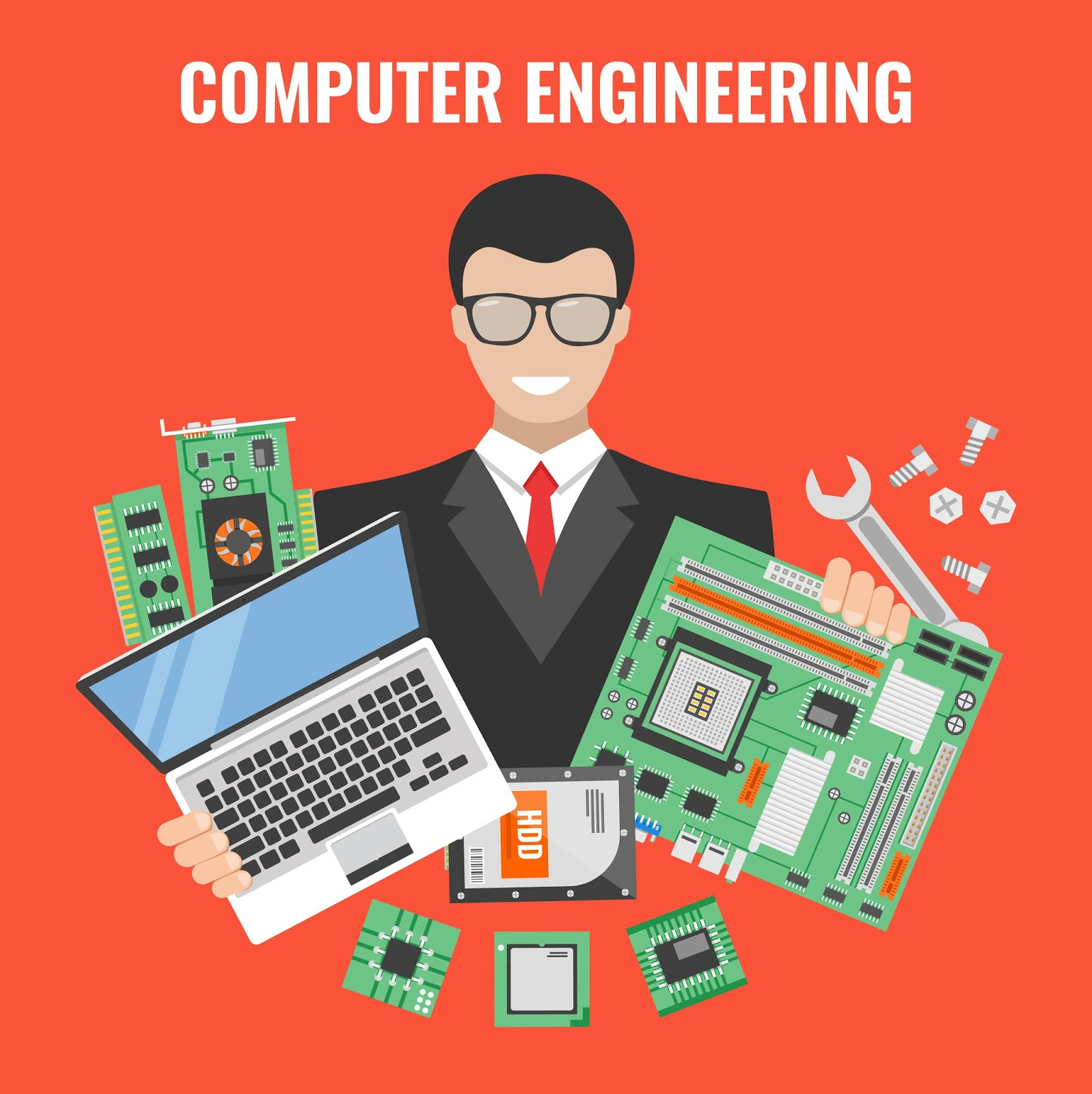 Computer Engineering Flyer With Man Suit With Laptop Tools Repair Vector Illustration Free Download Vector CDR, AI, EPS and PNG Formats