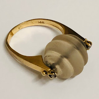 14K  Gold & Frosted Crystal Cocktail Ring