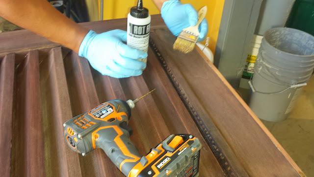 Repairing rot in mahogany door