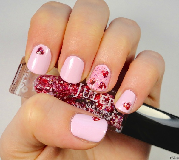 Valentine s Day Nails Madam Glam Flirty Mood and Julep Hartleigh 1