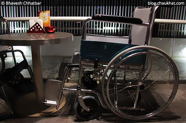 Wheelchair as outdoor seating for the customers at SocialClinic Restobar located at Koregaon Park in Pune