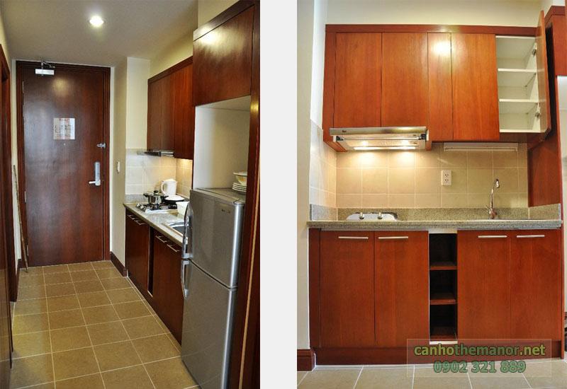 can ho the manor 38m2 không gian cửa cính và bếp