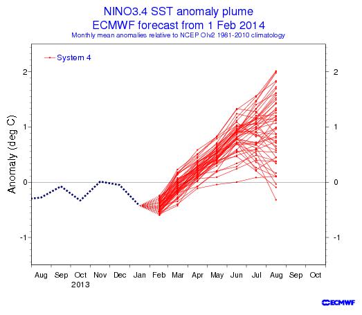 ecmwf ENSO forecast 2014