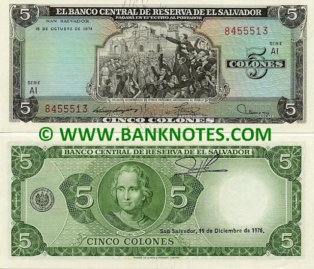 Billetes de 5 colones de El Salvador con la imagen de los Próceres y los españoles firmando el Acta de Independencia el 15 de Septiembre de 1821.