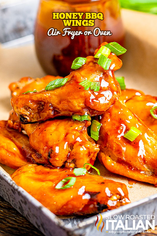 titled photo (and shownon serving tray): Honey BBQ Wings (Air Fryer or Oven)