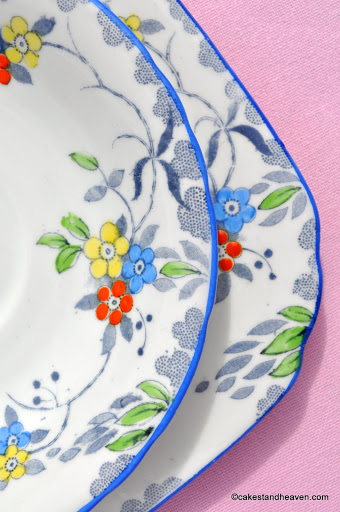 Blue Rim Hand Painted 1930s Vintage Bone China