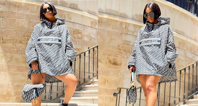 Toke Makinwa blasts a Fan who attacked her for wearing a N1.5million Christian Dior outfit [Photos]