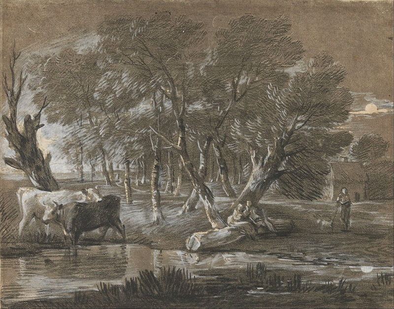 Thomas Gainsborough - A Moonlit Landscape with Cattle by a Pool