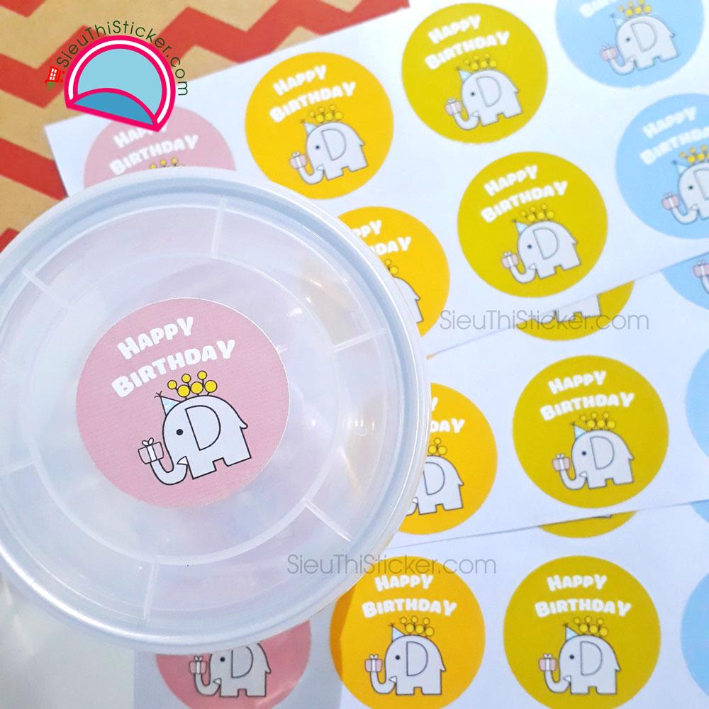 tem con voi happy birthday dán hộp quà sinh nhật