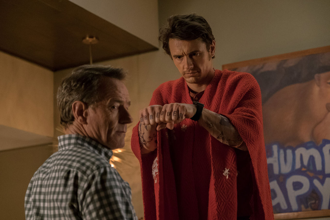 (L-r) Bryan Cranston and James Franco in WHY HIM?. (Photo by Scott Garfield / courtesy of 20th Century Fox).