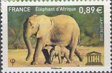 timbre France S155 éléphants d'Afrique