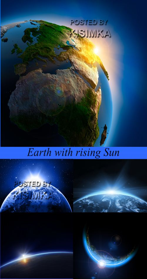 Stock Photo: Earth with rising Sun