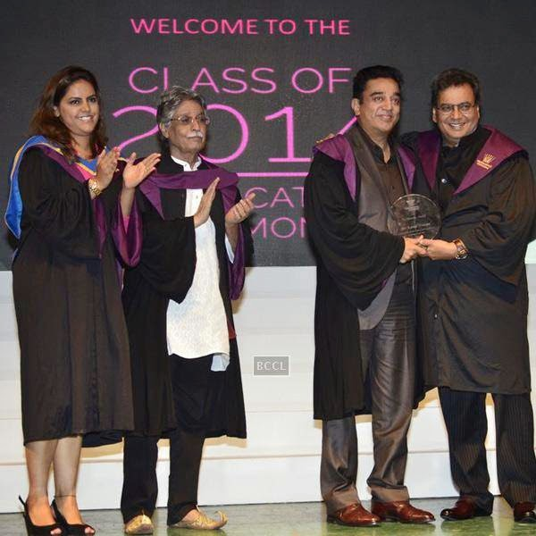 (L to R) Meghna Ghai Puri, President, Whistling Woods International, Screenwriter Javed Siddiqui, Bollywood actor Kamal Hassan, filmmaker and founder Subash Ghai during Whistling Woods International's 7th Annual convocation in Mumbai. (Pic: Viral Bhayani)