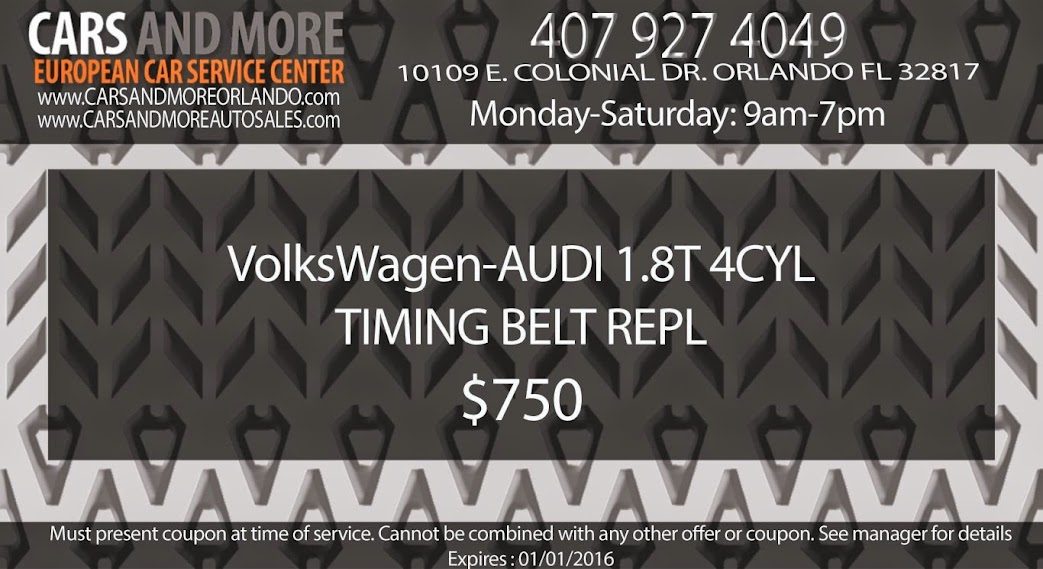 VW-Audi 1.8t 4cyl Timing Belt Repl $750 www.carsandmoreorlando.com