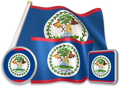 Belizean flag animated gif collection
