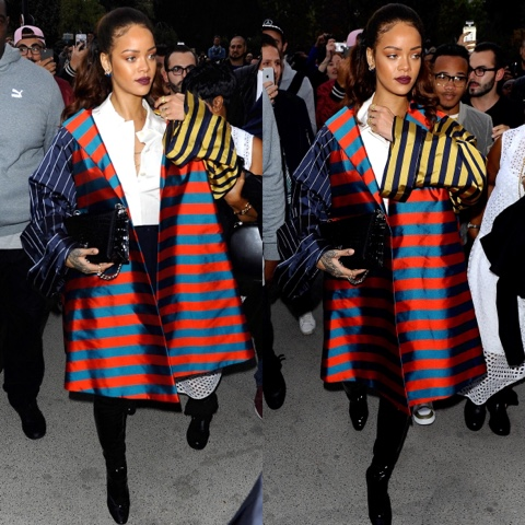 Rihanna in Fall 2013 Couture Dior to the Eiffel Tower in Paris