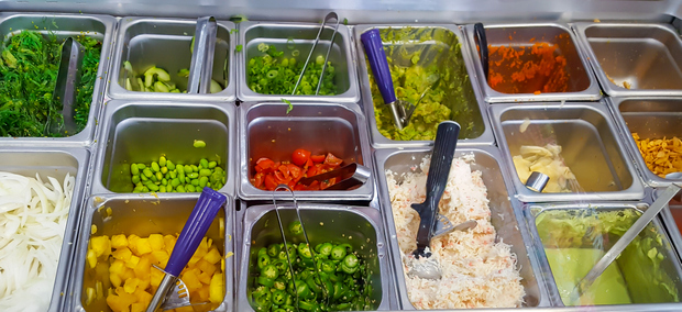 photo of different garnishes and toppings for poke bowls